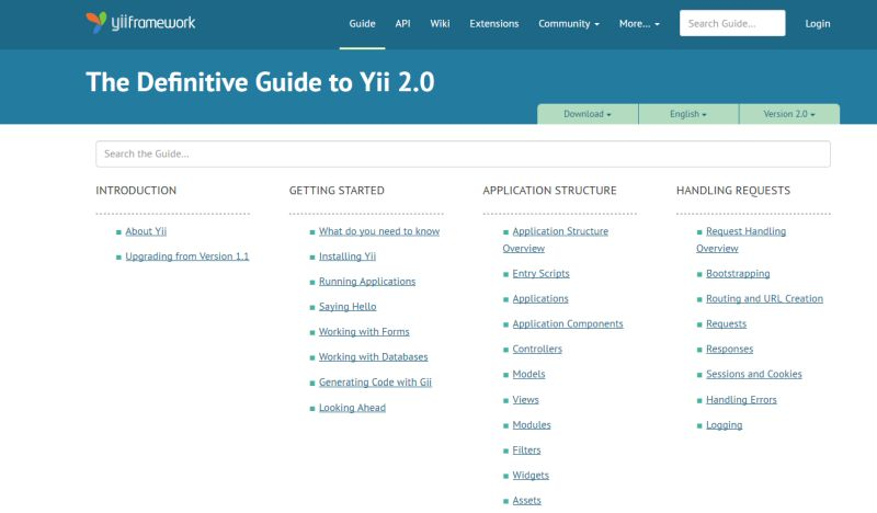 The Definitive Guide to Yii 2.0