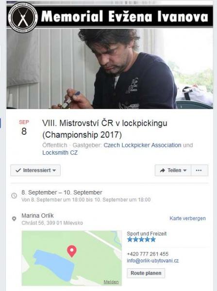 VIII. Mistrovství ČR v lockpickingu (Championship 2017)